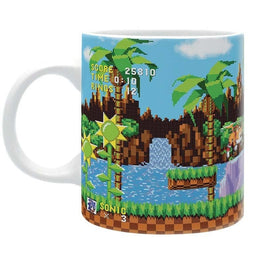 Classic Pixel Sonic the Hedgehog on Green Hill Zone mug