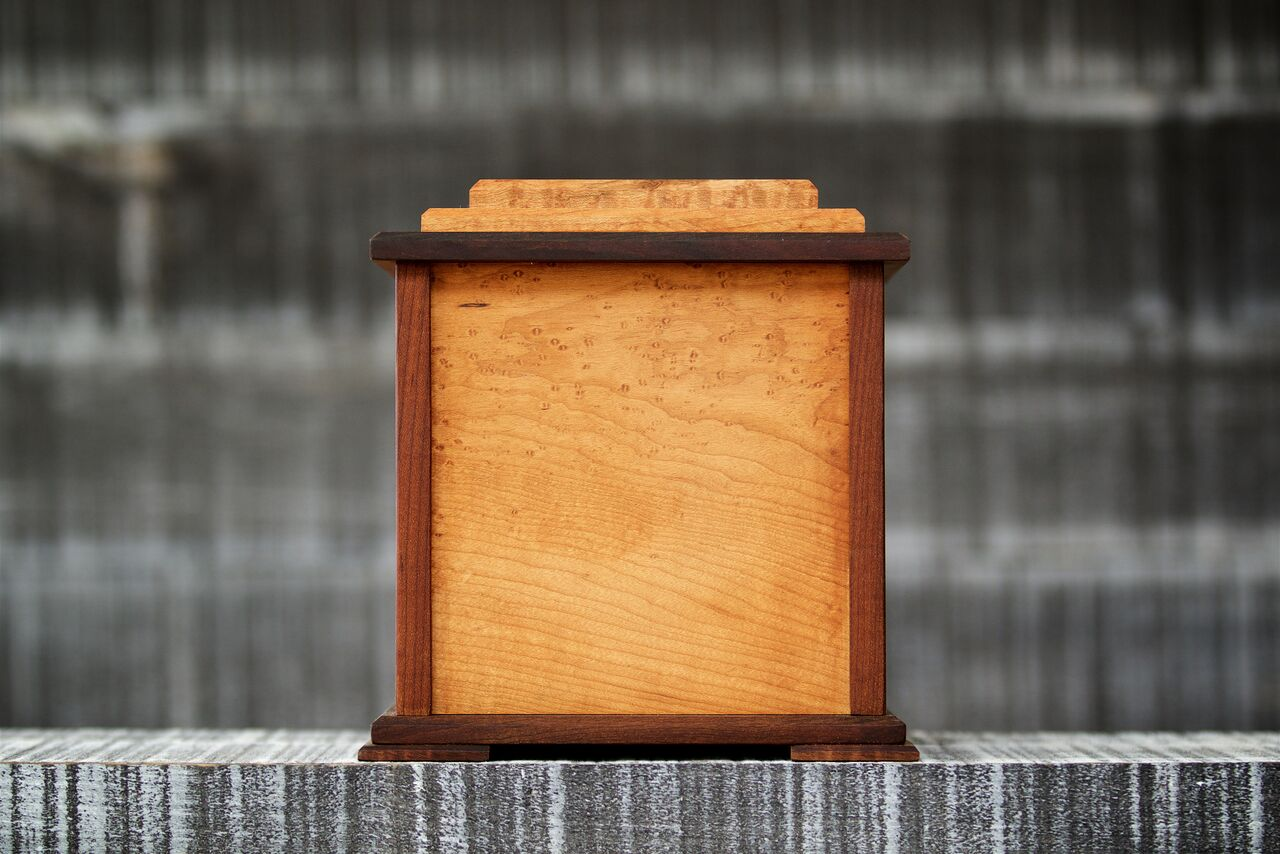 Wooden dog cremation urn