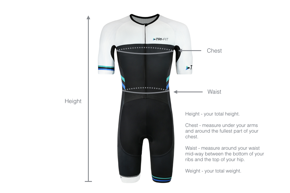 Image of mens tri suit with dimensions