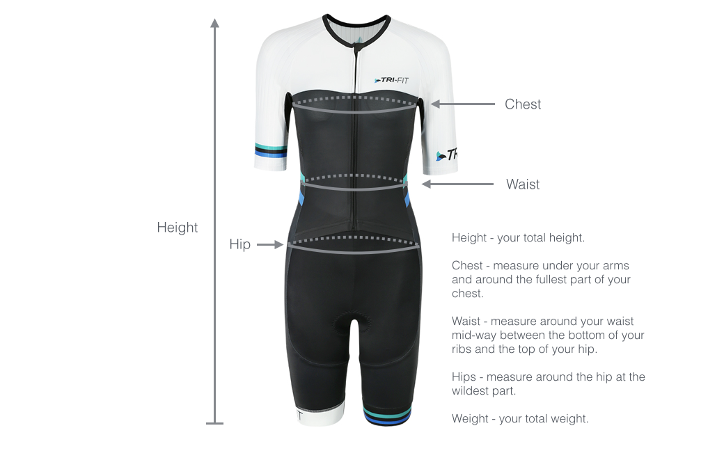Image of womens tri suit with dimensions