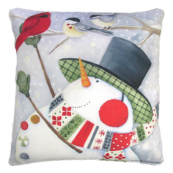 Holiday Snowman in Tophat w/ birds Outdoor Throw Pillow