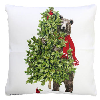 Holiday Bear & Pine Tree Outdoor Throw Pillow