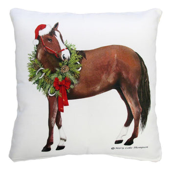 Holiday Horse Outdoor Throw Pillow