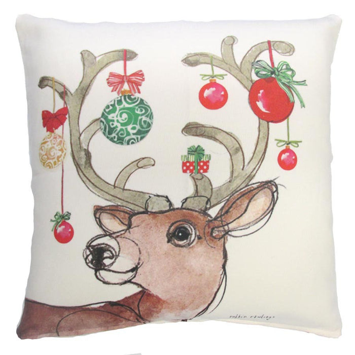 Holiday Deer w/ Ornaments Outdoor Accent Pillow
