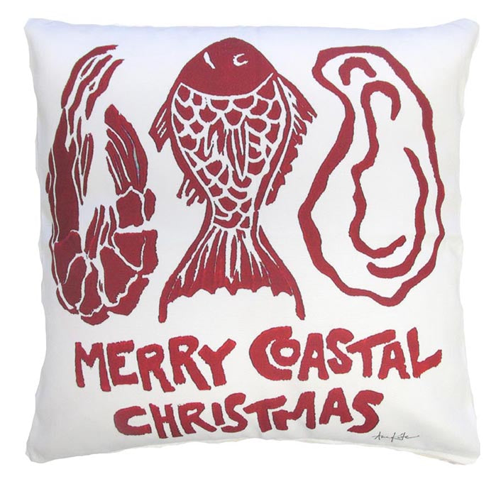 Merry Coastal Christmas Outdoor Accent Pillow