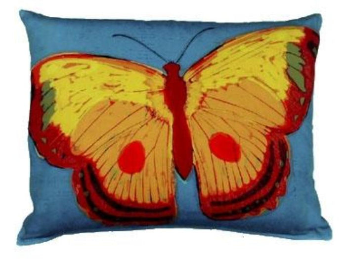Outdoor Butterfly Accent Pillow - Teal