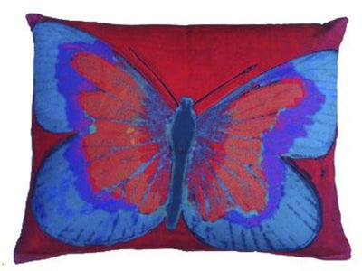 Outdoor Butterfly Accent Pillow - Red