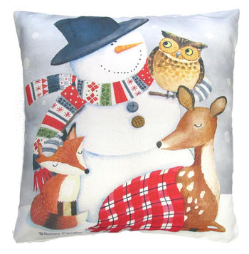 Holiday Snowman & Animals Outdoor Throw Pillow