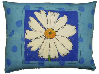 Outdoor Daisy Accent Pillow - Blue
