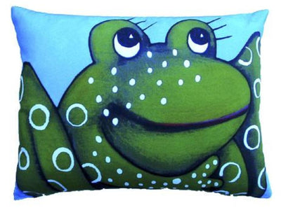 Outdoor Colorful Frog Accent Pillow