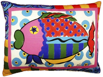 Outdoor Colorful Fish Accent Pillow