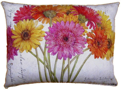 Outdoor Daisy Accent Pillow - Multi with Pink