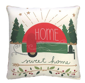 Holiday Home Sweet Home Camper Outdoor Throw Pillow