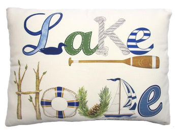 Outdoor Lake House Accent Pillow