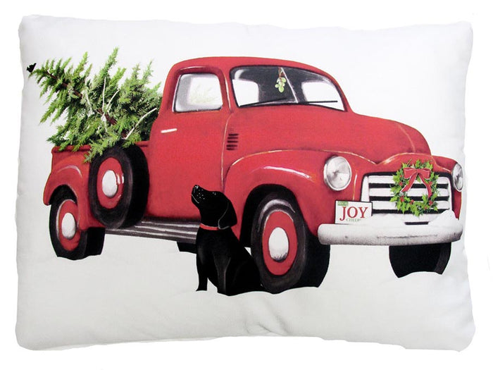 Holiday Red Pickup Truck Outdoor Accent Pillow
