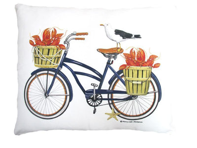 Bike Outdoor Accent Pillow w/ Seagull