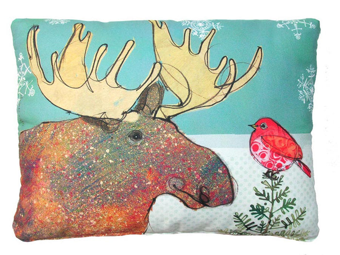 Holiday Moose & Bird Outdoor Accent Pillow