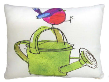 Watering Can w/ Bird Outdoor Accent Pillow