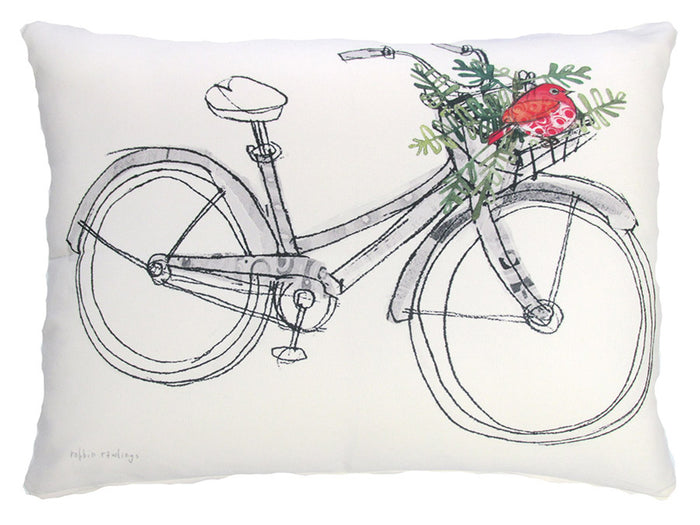 Holiday Bike & Bird Outdoor Accent Pillow