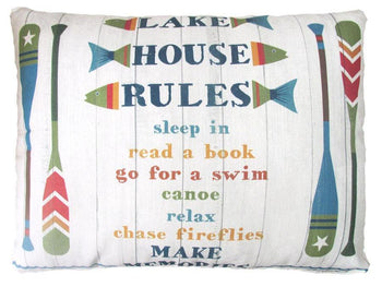 Lake House Rules Outdoor Accent Pillow