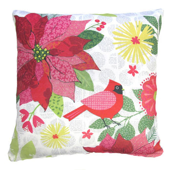 Holiday Pointsetta & Cardinal Design 1 Outdoor Throw Pillow