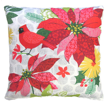 Holiday Pointsetta & Cardinal Design 2 Outdoor Throw Pillow