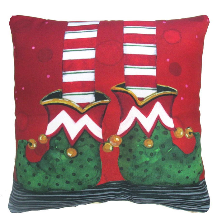Holiday Elf Feet Outdoor Accent Pillow