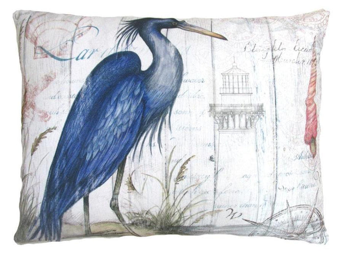 Blue Heron Outdoor Accent Pillow