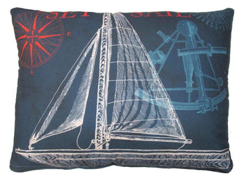 Outdoor Sailboat Accent Pillow - Blue