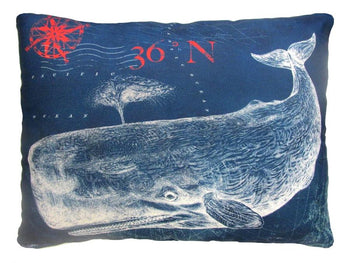 Outdoor Nautical Whale Accent Pillow