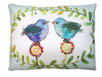 Two Blue Birds Outdoor Accent Pillow