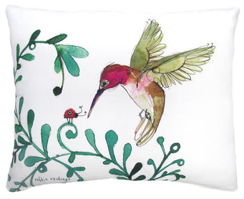 Pillow Humming Bird & Lady Bug Outdoor Accent Pillow