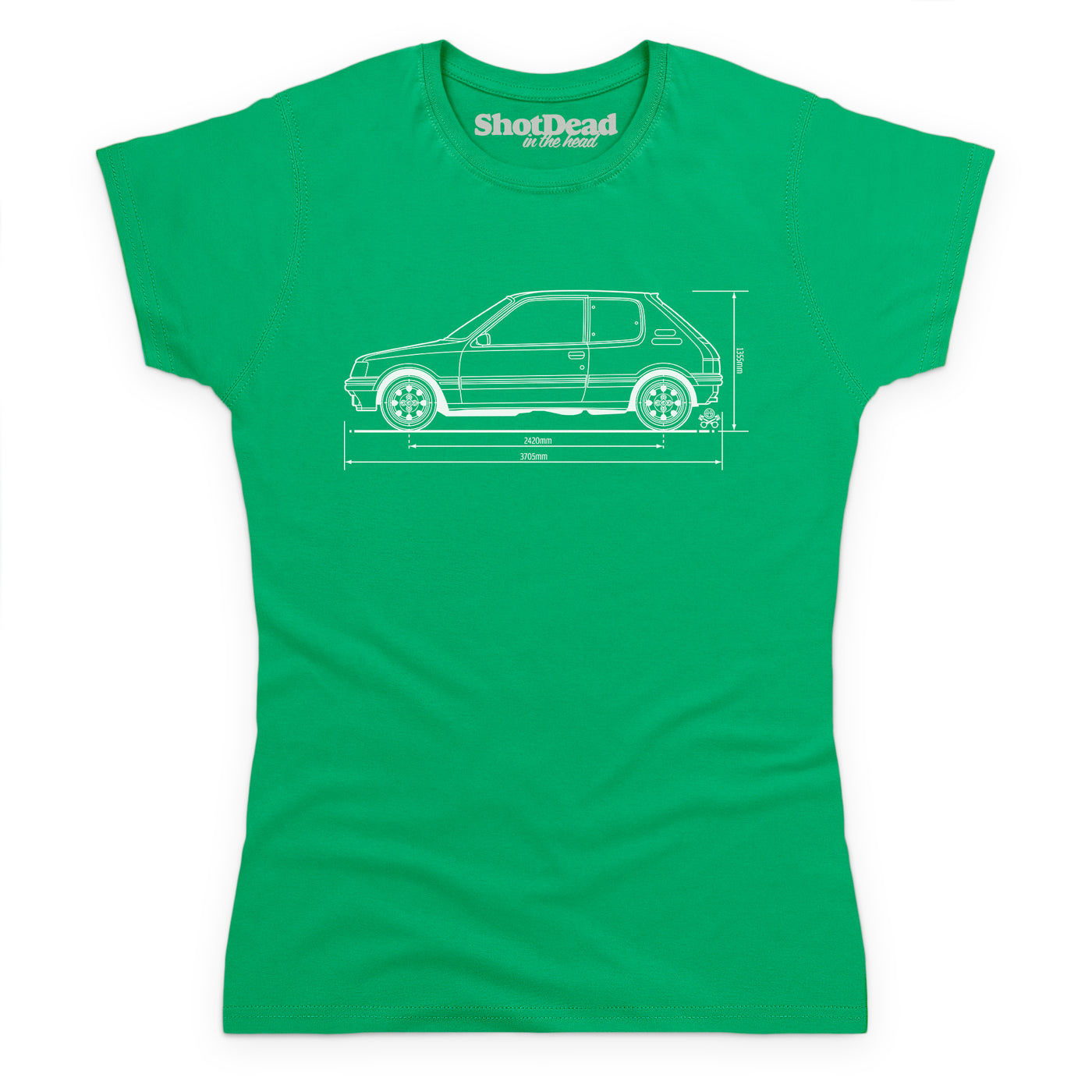 Style: Female, Color: Celtic Green.
