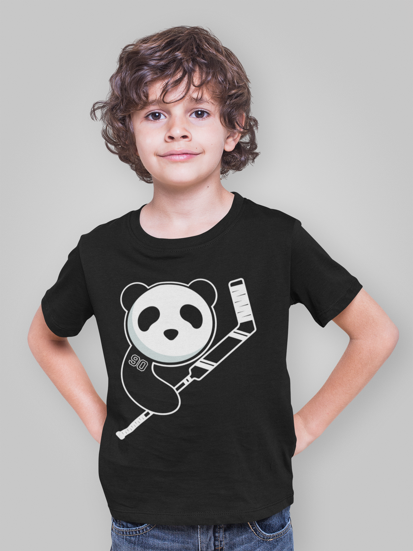 Black Youth Panda with Goalie Stick Shirt