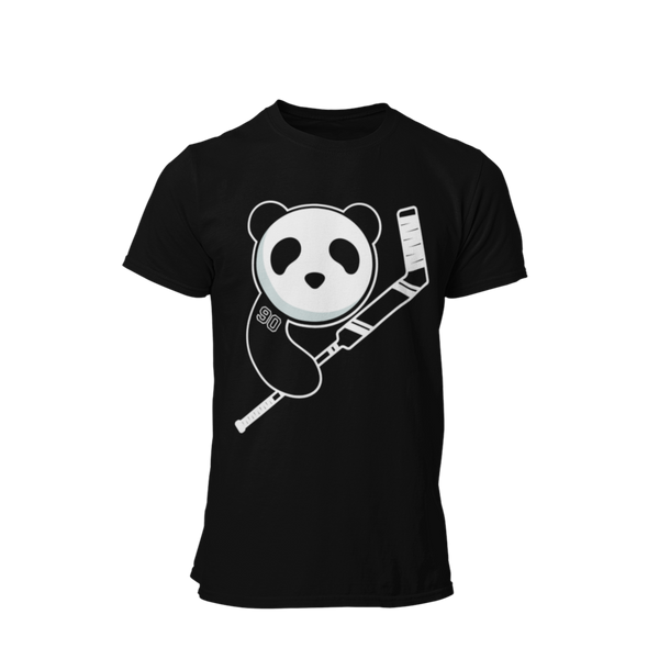 Black Unisex Panda with Goalie Stick Shirt