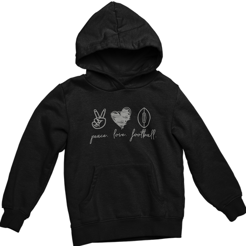 Peace Love Football- Adult Hoodie