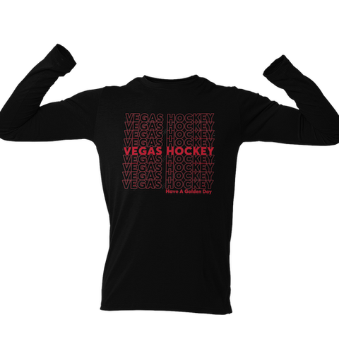 Vegas Hockey Have A Golden Day -Black Adult Long Sleeve
