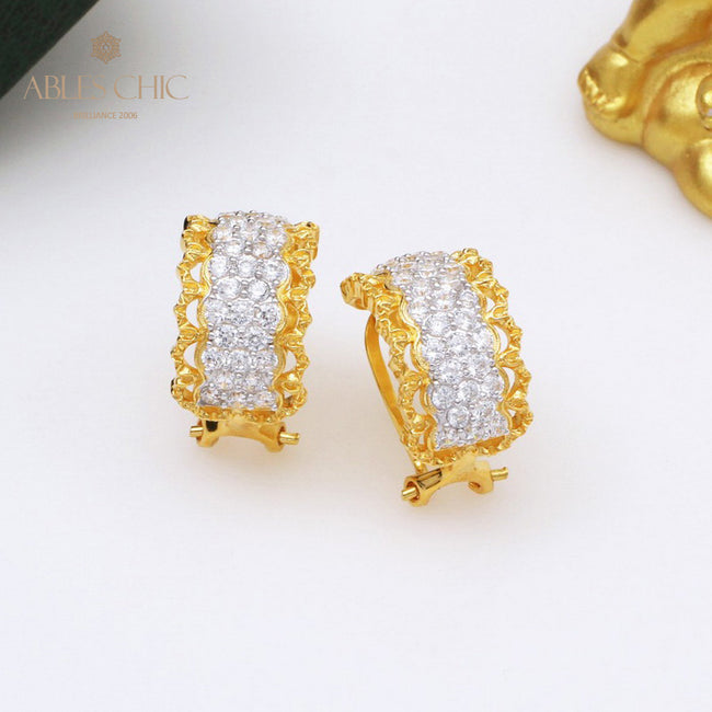 18K Gold Tone Micro Paved CZ Inlay Hoop Earrings 925 Silver Renaissance Lace Wide Clip-on Women Wedding Earring C11E4S25392 Wholesale China