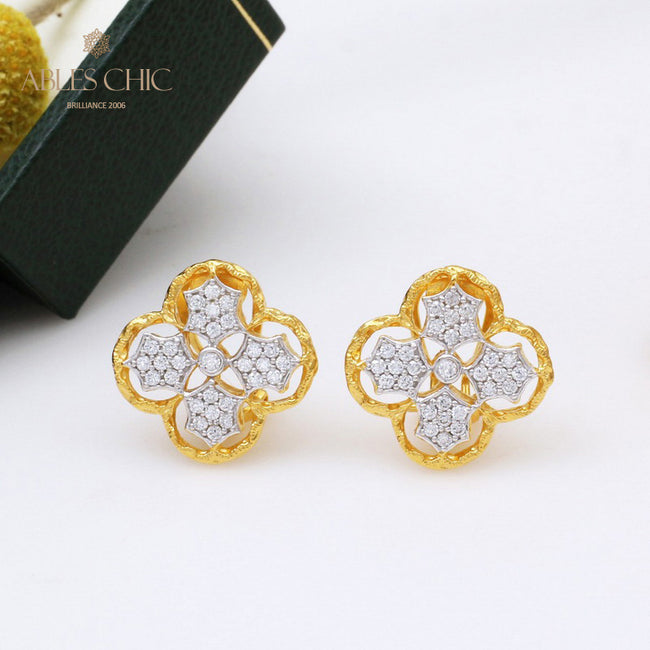 18K Gold Tone Plum Flower Earrings 925 Sterling Silver Vintage Renaissance Studs Wedding Fine Jewelry C11E4S25407 Wholesale China