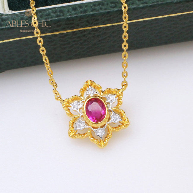 18K Gold Tone Renaissance Oval Gemstone Filigree Star Pendant 925 Solid Silver Light Weight Flower Wedding Necklace C11N3S25312 Wholesale China