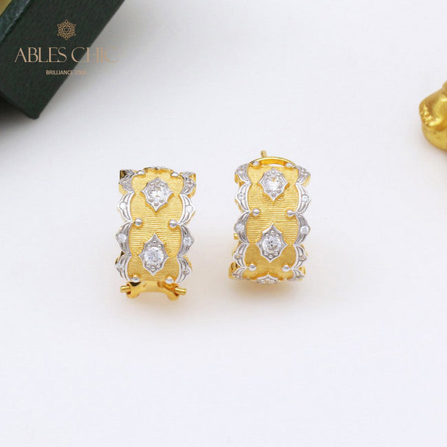 18K Gold Tone Silky Fabric CZ Stars Hoop Earrings Renaissance 925 Sterling Silver Wide Clip-on Wedding Women Earring C11E4S25397 Wholesale China