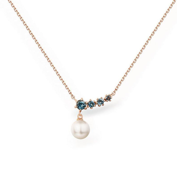 4 Stone Blue Topaz Accent Fresh Water Pearl Pendant Gemstone Necklace in 14K Gold - Ables Mall