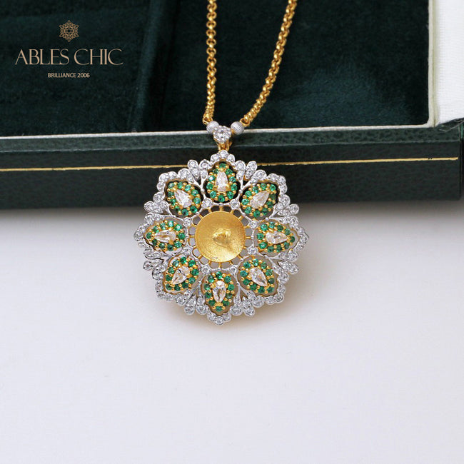 925 Silver Topaz CZ Flower Pendant Renaissance 18K Gold Tone Emerald Accent Wedding Statement Necklace Fine Jewelry C11N3S25277 Wholesale China