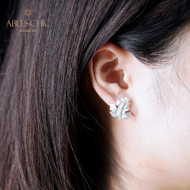 925 Sterling Sliver Leaves CZ Earrings Nature Element Handmade 18K Gold Two Tone Trees Earring Vintage Studs C11E4S25141 Wholesale China