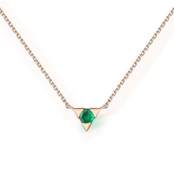 Channel Set Natural Round Emerald Triangle Pendant 14K Solid Gold Gemstone Necklace - Ables Mall