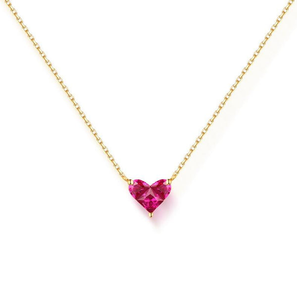 Lab Created Ruby 3 Stone Love Heart Pendant Gemstone Necklace in 14K Gold - Ables Mall