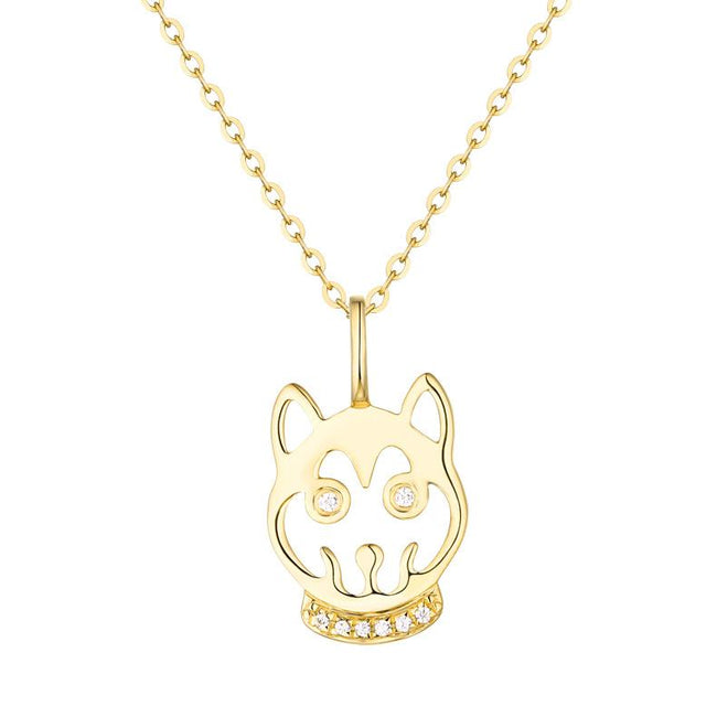 Cubic Zirconia Accent Dog Puppy Necklace Charm Pendant in 14K Gold (No Chain) - Ables Mall