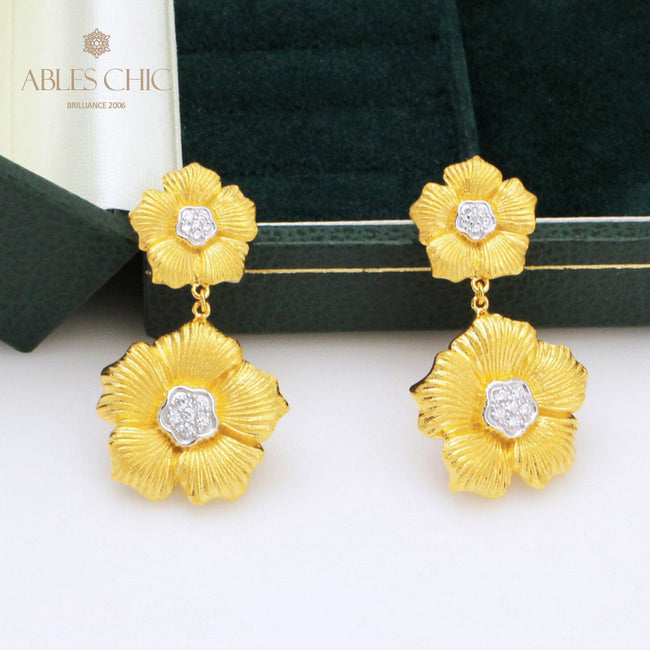 Dangling Flower 18K Gold Tone Daisy Earrings Vintage Renaissance 925 Silver Blossoms Studs Nature Wedding Earring C11E4S25404 Wholesale China