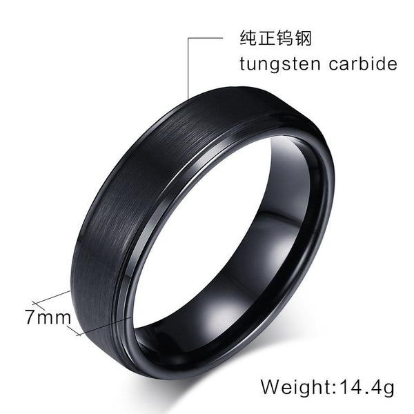 Black Tungsten Band Brushed Center Steps Engagement Ring Wholesale 7mm - Ables Mall