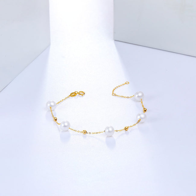 6-6.5mm Freshwater Pearl Chain Bracelet in 18K Gold - Ables Mall